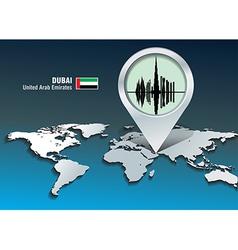 Map pin with Dubai skyline vector