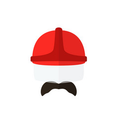 Men with mustache wearing casque firefighter icon vector