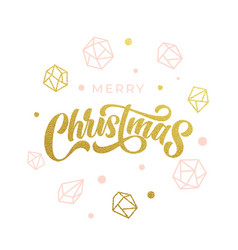 Merry christmas gold glitter geometric gem vector