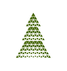 merry christmas tree with triangle shape vector image