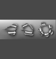 metal rip holes with curly edges ragged cracks vector image