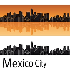 Mexico City skyline in orange background vector