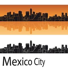 Mexico city skyline in orange background vector