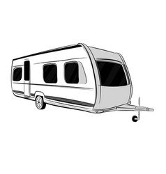 Modern caravan trailer for travel vector