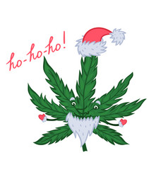 new year s marijuana in a cap and with a beard vector image