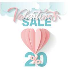 offer card for valentine s day sale lettering vector image