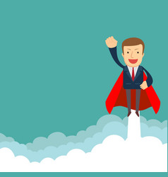 Office super man flying to achieve his goal vector