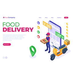 Online food order package delivery service vector