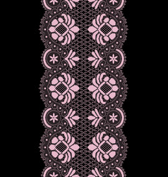 Pink lace border vector