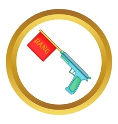 Pistol with bang flag icon vector