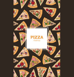 Poster flyer or menu cover template with pizza vector