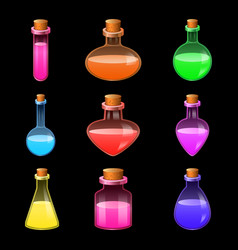 potion magic bottle icons set realistic style vector image
