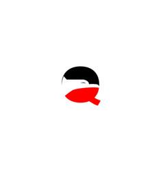 q letter eagle logo vector image