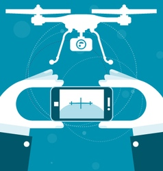 Quadrocopter remote control from smartphone vector image