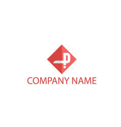 red letter p logo vector image
