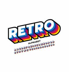 Retro style colorful font design alphabet letters vector