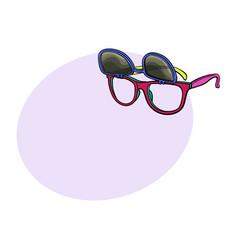 Retro wayfarer sunglasses with removable lenses vector