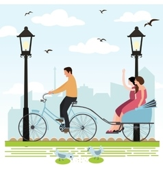 Riding rickshaw in town tourist enjoy city scene vector