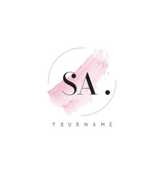 sa watercolor letter logo design with circular vector image