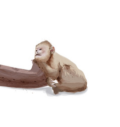 sad monkey watercolor isolated on white vector image
