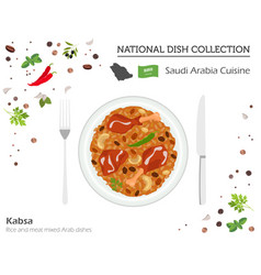 Saudi arabia cuisine middle east national dish vector