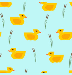 seamless yellow duck pattern on blue vector image