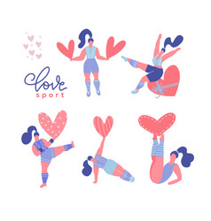 set diverse body positive women holding vector image