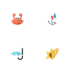 set of beach icons flat style symbols with crab vector image