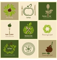 Set of icons organic products vector
