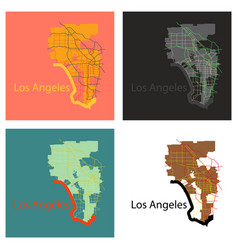 set of los angeles map flat style design vector image