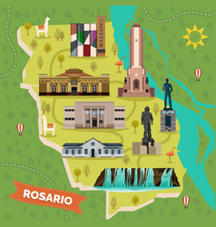 sightseeing landmarks map of rosario in argentina vector image