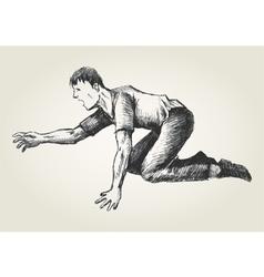 Sketch of a man crawling vector