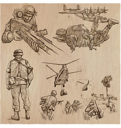 soldiers army - an hand drawn collection vector image