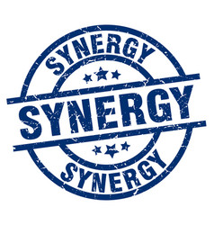 Synergy blue round grunge stamp vector
