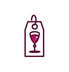 tag wine glass celebration drink beverage icon vector image