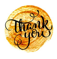 Thank you vintage text on round gold vector