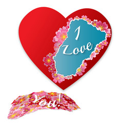 torn paper heart with flowers and phrase - i love vector image