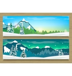 Two Banners with Winter Landscape and Snow vector