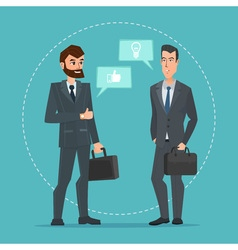 Two businessmen standing talking discussing vector