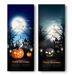 Two Holiday Halloween Banners with Pumpkins vector image