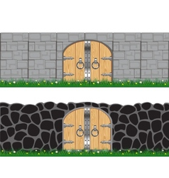Two walls and gates vector image