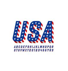 Usa flag style font design alphabet letters vector