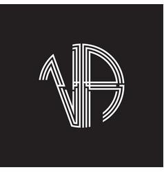va logo monogram triple ribbon style line design vector image