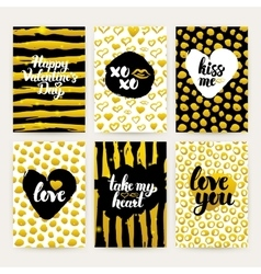 Valentine Day Gold Trendy Brochures vector