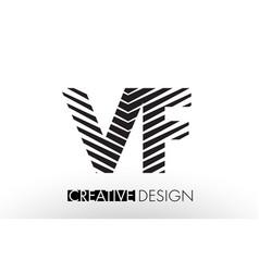 vf v f lines letter design with creative elegant vector image