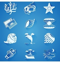 White underwater icons vector image
