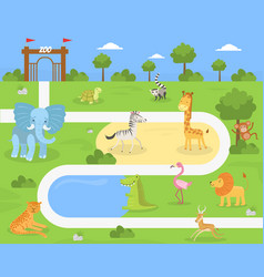 wild animals savanna and desert in zoo vector image