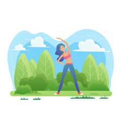 yoga meditation in nature woman doing vrikshasana vector image