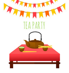 flat traditional tea party template vector image