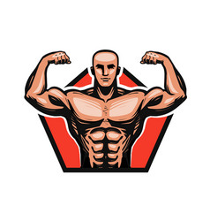 gym bodybuilding fitness logo or label muscle vector image vector image